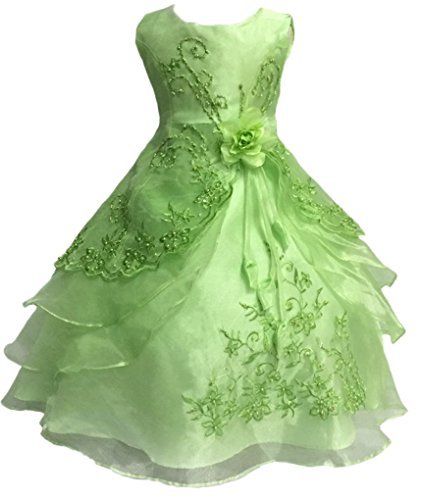 Shiny Toddler Little Girls EmbroideBright Green Beaded Flower Girl Birthday Party Dress with Petticoat 4t-5t,Bright Green