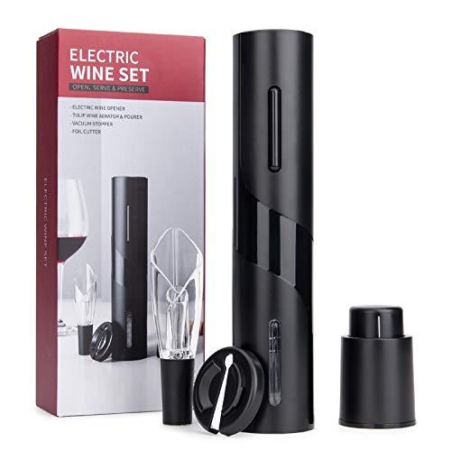 Elektrisches Weinflaschenöffner-Kit, Elektrischer Korkenzieher, Automatisch Flaschenöffner Schnurlos Weinöffner, Weinflaschenöffner Set enthält Folienschneider, Weinausgießer und Vakuum Weinverschluss