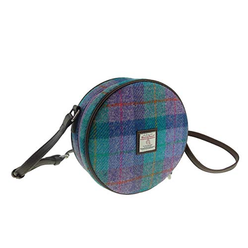 Damen Authentisch Harris Tweed Rund Tasche mit Schulterriemen Erhältlich in Verschiedenen Farben...