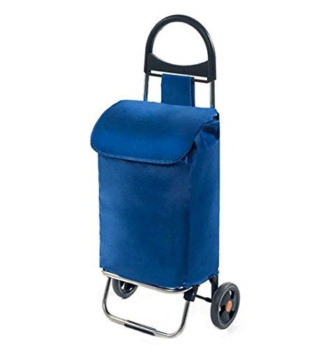 Ercole Aluminium Einkaufstrolley - Klappbar & Faltbar 50 Liter Regenfest 30kg Blau