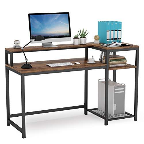 Tribesigns Computertisch mit Ablageflächen und Monitorständer, PC-Schreibtisch, Industrie-, Holz- und Stahlrahmen, Workstations für das Home Office