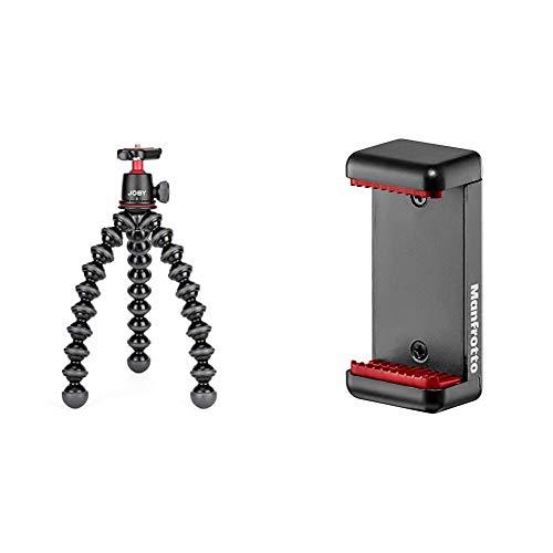 JOBY JB01507-BWW GorillaPod 3K Kit Flexibles und leichtes Stativ (mit Kugelkopf für DSLR-, CSC- und spiegellose Kameras, Traglast bis zu 3kg) & Manfrotto MCLAMP Smartphone Halterung, schwarz
