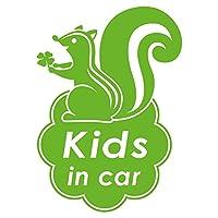 imoninn KIDS in car ステッカー 【パッケージ版】 No.36 リスさん (黄緑色)