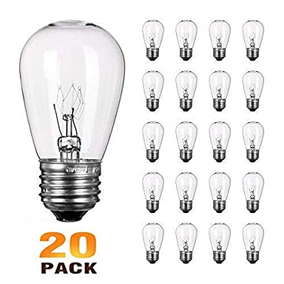 NIOSTA Pack of 20 Clear Replacement S14 Glass Light Bulbs for Lights String,Commercial Grade Warm White E26 Medium Base Bulb,11W Incandescent Filament S14 Bulb for Outdoor Patio Vintage String Lights