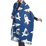 wusond Warm Scarf Shark Fierce Blue Damen Schal Wrap Winter Warm Scarf Cape Large Schal Übergroße Schals