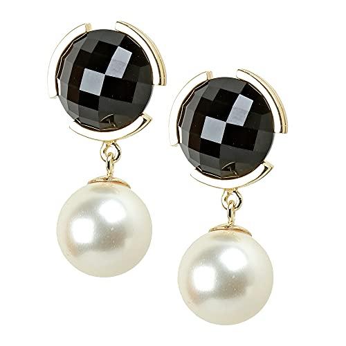 Eva Pfeffinger - Pendientes para mujer, plata 925 chapada en oro, circonitas negras, perla de concha