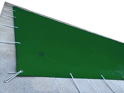 Cubierta de piscina 8,30x5,30 metros. (En una piscina de 8x5 metros la lona cubriría 15cm sobre todo el contorno de la piedra de coronación). Verde(exterior)/Verde(interior)