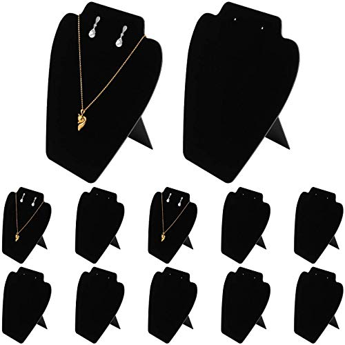 Paquete de 12 soportes de exhibición de collar de 7.07 x 8.15 pulgadas, soporte de exhibición de organizador de joyería, soporte de exhibición de caballete de terciopelo negro para joyería, estante d