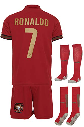 Portugal Ronaldo #7 2021 Heim Trikot und Shorts mit Socken und Wickel Armband Kinder und Jugend Größe