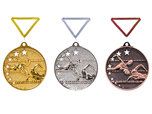 Henecka Medaille Schwimmen, Medaillen mit Wunschgravur, inklusive Halsband, wählbar in Gold, Silber, Bronze, oder als 3er-Serie (Gold)