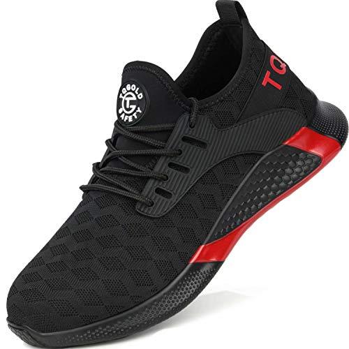 tqgold® S3 Sicherheitsschuhe Herren Damen Arbeitsschuhe Leicht Sportlich Sneaker Turnschuhe Schutzschuhe mit Stahlkappe Schwarz Größe 42