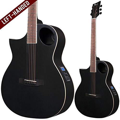 Lindo Left-Handed Neptune Satin Black Electro Acoustic Guitar with F-4T Preamplifier LCD Tuner and Padded Gig Bag…