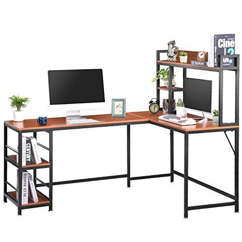 Escritorio para ordenador en forma de L, de 67 pulgadas, para casa, oficina, con 2 estantes de almacenamiento, para 220 libras, mesa de ordenador portátil con almohadilla ajustable (Marrón Rojo)