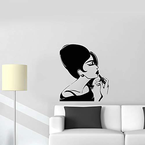 HGFDHG Hermosa Mujer calcomanía de Pared Retro para Mujer Maquillaje Peinado Cera para el Cabello salón de Belleza Chica Dormitorio decoración Interior Vinilo Adhesivo Mural
