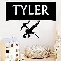KDSMFAカスタム名ウォールステッカー武器ビニールデカール男の子寝室の装飾子供部屋の装飾ゲーマープレイルームアート壁画取り外し可能84x114cm