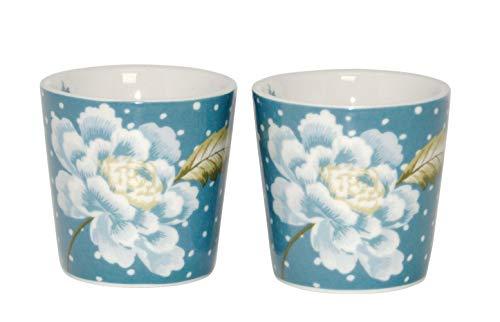 Laura Ashley 2er Set Bunte Eierbecher Eierhalter aus hochwertigem New Bone China Porzellan blau weiß gepunktet mit Blumen Motiv Heritage Collectables Eierständer (Seaspray Uni)