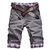 Ddcjc Patrón de Verano Casual de los Hombres Botones Botones Sueltos Playa Pantalones Cortos Deportes Entrenamiento Fondos Ropa sin cinturón Cool (Color : Grey, Size : 3XL.)