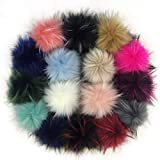 Tengsen DIY 16 Pieces 10cm Faux Fur pom pom Ball Fluffy Knitted hat Shoes Scarf Gloves Bag Key Chain Accessories, (Artificial Raccoon Hair in 16 Colors)