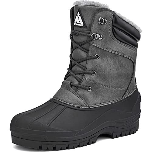 Men's Waterproof Winter Snow Boots Insulated Warm Boot Fur Lined Duck Boots Outdoor Anti Slip Work Hiking Walking Boot Grey 11
