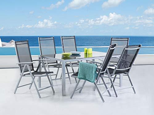 Beliani Conjunto de 6 sillas de jardín Negras en Aluminio Catania