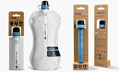 Purificador de Agua portátil Faircap Mini - Filtra el 99.99% de Las bacterias y Otros patógenos - Ideal para Viajes, Caminatas, campamentos y Deportes de Aventura - para Botellas de Pet de 28 mm