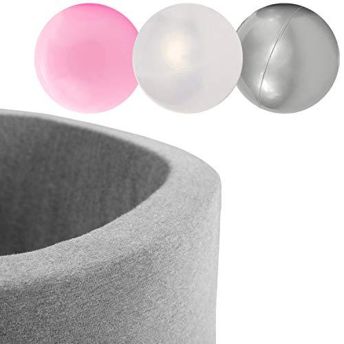 MISIOO Piscine Sèche Smart 90x30 cm Ronde pour bébés et Tout-Petits, Gris Clair avec 150 balles colorées (Gris: Argent-nacré-Rose pâle/150 balles)