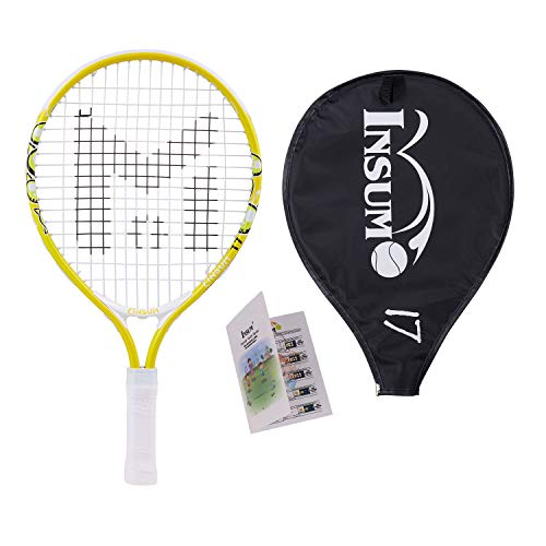 insum Kids Tennis Racket Starter Kit for Kids with Shoulder Strap Bag Mini Tennis Racket Toddler Tennis Raquet 17 Inch for Age 4 and Under