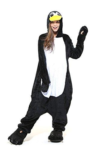 Tante Tina Ganzkörperkostüm Pinguin für Erwachsene - Pinguinkostüm für Erwachsene aus kuschligem Plüsch und Flannel - Schwarz/Weiß - Größe XL