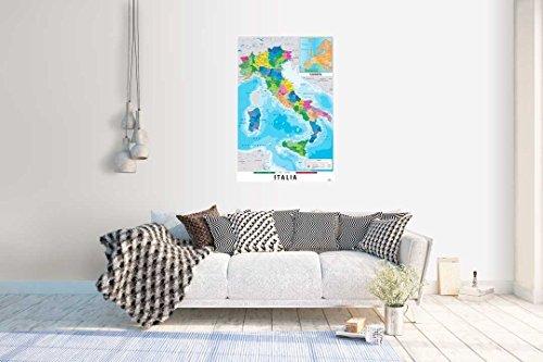 Grupo Erik GPE5125 Poster Mappa Italia Fisico Politico, carta, Multicolore, 91 x 61,5 x 0,1 cm