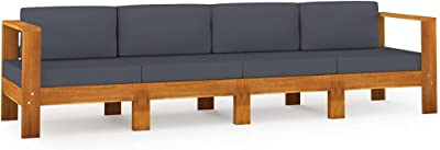 vidaXL Acacia Massif Canapé de Jardin 4 Places et Coussins Sofa de Terrasse Canapé d'Extérieur Sofa de Jardin Meuble de Terrasse Gris Foncé