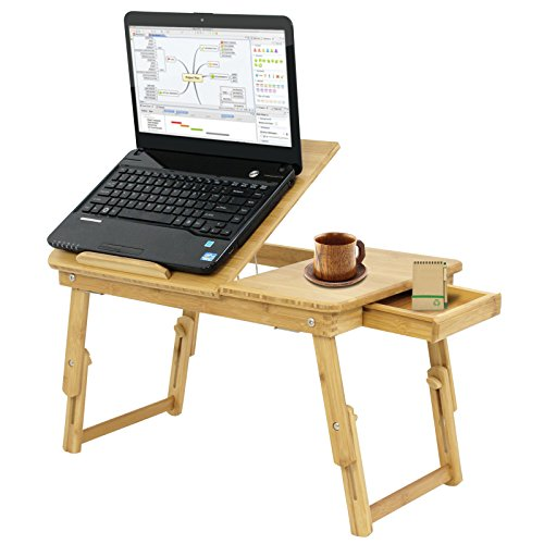 BBBuy Foldable 100% Bamboo Lap Desk - Laptop Desk - Computer Notebook Table - Breakfast Serving Bed Tray - Tilting Top - Lockable Legs - Storage Drawer Space - Adjustable Height
