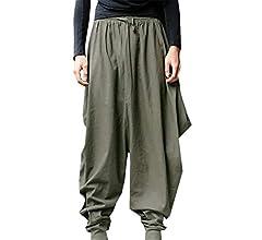 YIhujiuben Men Baggy Hippie Boho Gypsy Aladdin Yoga Pants Harem Pants