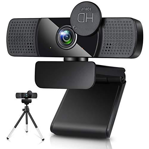 Webcam mit Mikrofon,1080P Full HD USB Webkamera mit Stativ, Automatischer Lichtkorrektur,Streaming-Webcam,USB 2.0 Plug & Play für Videoanrufe, Online-Unterricht, Konferenz, Spielen