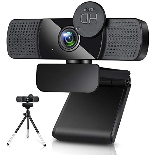 Webcam mit Mikrofon 1080P Full HD USB Webkamera mit StativStreaming Webcam fur PC Laptop Mac Webcam mit Autofokus Weitwinkel
