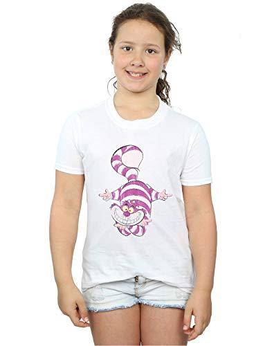 Disney Girls Alice in Wonderland Cheshire Cat Upside Down T-Shirt White 5-6 Years