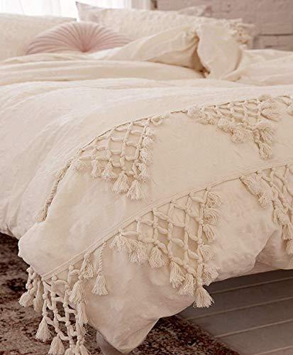 Flber outlet Ivory Duvet Cover King Boho Cotton Tassel Bedspreads Comforter Quilt Cover,96'x104'