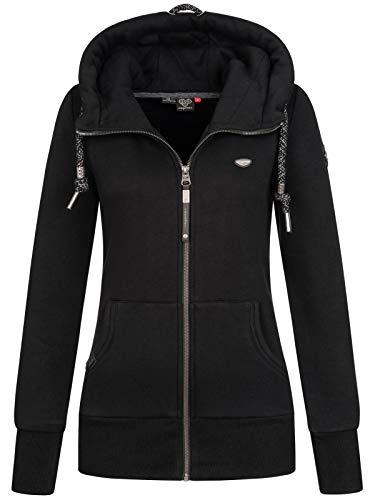 Ragwear NESKA Zip Damen,Streetwear,Sweatjacke,Zip Hoodie mit Kapuze und Reißverschluss,vegan,Zwei Taschen,Black,XL