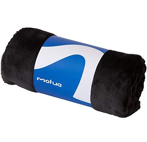 mofua (モフア) ひざ掛け 毛布 70×100cm ブラック あったか 冬用 ブランケット モフモフ プレミアムマイクロファイバー 静電気防止 洗える エコテックス認証 50000610