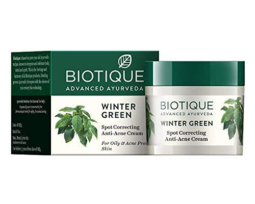 Biotique - Crème correctrice Bio Winter Green pour les boutons d'acné, pour peaux grasses et à tendance acnéique, 15 g