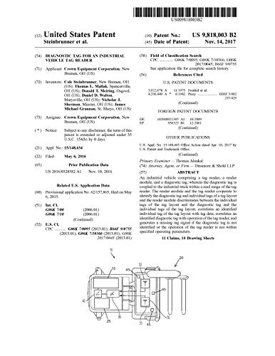 Diagnostic tag for an industrial vehicle tag reader: United States Patent 9818003 (English Edition)