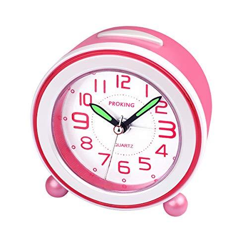 Wecker,Analoger Wecker Kinder, Kompakt Nicht Tickendes Bett Reise Silent Wecker mit Lautem Alarm, Nachtlicht, Snooze, Batteriebetriebene Weckuhr