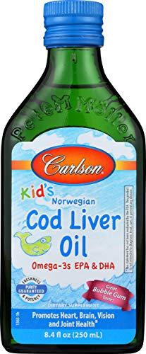 Carlson - Kid's Cod Liver Oil, 550 mg Omega-3s, Vitamins A & D3, Wild Norwegian, Bubble Gum, 250 mL
