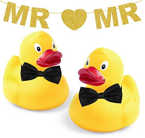 Inedit Festa Pareja de Patitos de Goma Novios Gay Enamorados San Valentín Enamorados Boda Guirnalda Dorada Personalizable ó Mr and Mr LGTBIQ