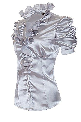 Laeticia Dreams Camicia da Donna, in Satin, con ruches e volant, a maniche corte Grau 42
