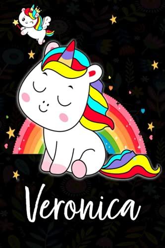 Veronica: Quaderno unicorno bambina Con Nome Veronica ,Taccuino Pagina a Righe, Dimensione 15.24 x 22.86 cm,110 pagina , Perfetto regalo personalizzato per il compleanno di Natale San Valentino