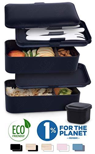 Umami® ⭐ Premium Lunchbox – 1 Soßendose & 3-teiliges Besteck - Japanische Luftdichte Bento Box – Brotdose mit Fächern – Zero Waste - Mikrowellen- & Geschirrspülerfest – BPA-frei - 5 Jahre Garantie