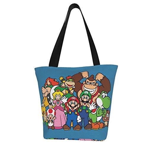 Super Mario Damen Multifunktions Große Kapazität Schultertasche Einkaufstasche mit Reißverschluss Handtasche Strandtasche Laptoptasche Tablet Tasche