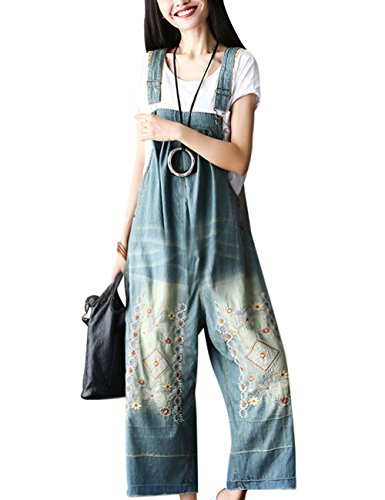 Youlee Youlee Damen Sommer Breites Bein Hose Denim Latzhose Overall Hosen Style 1 Blue