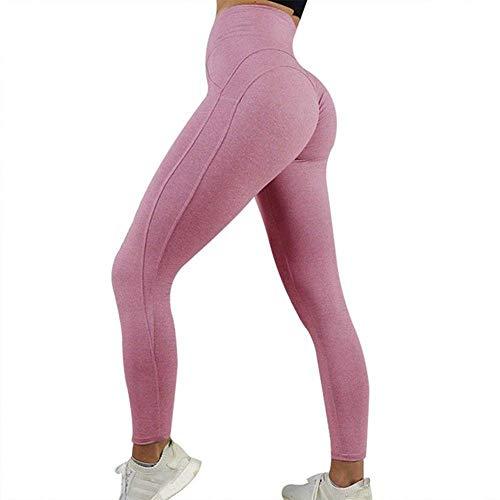 QINGJIA Moisture Wicking Los pantalones de yoga atractivo empuja hacia arriba polainas Deporte aptitud de las mujeres de cintura alta Gimnasio polainas Rosa Negro Gris polainas de aptitud de las mujer