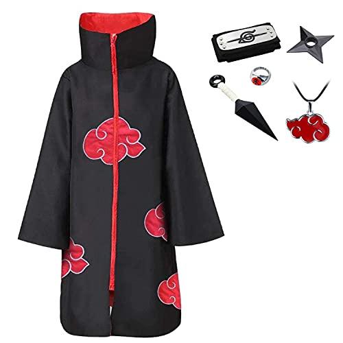 D.F.l Akatsuki Mantello unisex Ninja Itachi lungo vestaglia mantello Halloween Cosplay costume uniforme fascia anello collo collo in plastica puntello Mantello con cappuccio XL